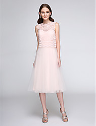 Lanting Bride®Tea-length Lace / Tulle Bridesmaid Dress - Two Pieces A-line Jewel with Lace