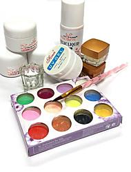 12 clour Kristallpulver 3 Arten Farbe Nägel leuchtend rosa Farbe + UV Gel Nagel Werkzeuge