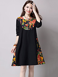 Women's Casual / Chinoiserie A Line / Loose Dress,Print Above Knee Long Sleeve Red / Black Cotton / Linen Spring / Fall