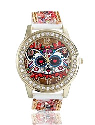 Women/Lady's Cute Special Owl Case Acrylic Beads Leather Band Fashion Watch