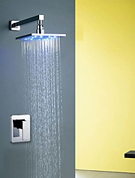 Wall Mounted LED / Handshower Included with  Ceramic Valve Single Handle One Hole for  Chrome  Shower Faucet