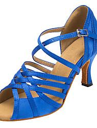 Non Customizable Women's Dance Shoes Flocking Flocking Latin / Salsa Sandals / Heels Flared Heel Indoor Blue