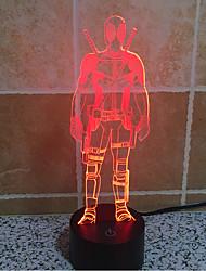 Deadpool touch oscurecimiento 3d llevó la luz de la noche de la lámpara de la decoración ambiente 7colorful de iluminación novedoso luz de