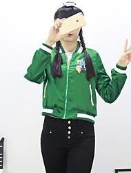 Mulheres Jaqueta Casual Simples Primavera,Bordado Verde Outros Colarinho Chinês Manga Longa Média
