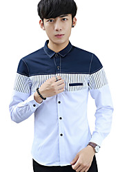 Summer/Fall Plus Sizes Men's Casual/Work Shirt Standing Collar Long Sleeve Blue/White Striped Tops