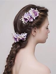 MISS DIVA  Women's Tulle Headpiece-Casual Hair Stick 2 Pieces Purple Flower 55