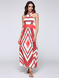 Women's Sexy A Line Dress,Striped Round Neck Maxi Sleeveless Red / Green Polyester Summer