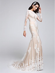 Lanting Bride Trumpet / Mermaid Wedding Dress Court Train High Neck Lace with Lace