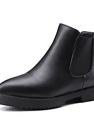 Feminino-Botas-Conforto / Coturno / Botas Cano Curto / Arrendondado / Botas Montaria / Botas da Moda / Rasos-Rasteiro-Preto-Couro