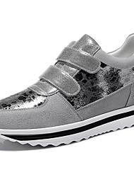 sapatos femininos camurça trepadeiras primavera / verão / outono / inverno tênis atlético / ocasional plataforma rebite preto / prata