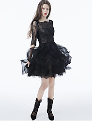 Cocktail Party Dress - Little Black Dress Ball Gown Bateau Short / Mini Lace / Tulle with Appliques / Lace / Ruffles