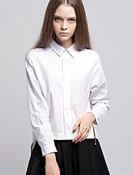 ARNE® Feminino Colarinho de Camisa Manga Comprida Shirt & Blusa Branco-A001