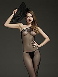 Donna Lingerie con reggicalze Sensuale Body Indumenti da notte Nylon Nero