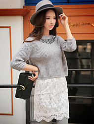 Women's Going out / Work Vintage / Cute / Street chic Regular Pullover,Solid / Jacquard Turtleneck ½ Length Sleeve
