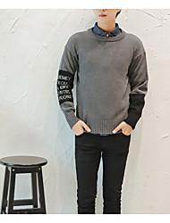 Herren Pullover-Druck Freizeit Wolle Lang Grau