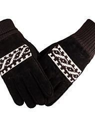 Male Thickened And Plush Warm Gloves Leather Riding Warm Woolen Gloves