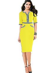 Women's Fashion Patchwork Stitching OL Bodycon Knee-length Pencil Dress