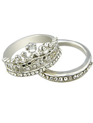 Silver Plated Rhinestone Crown Shape Fingers Rings Set