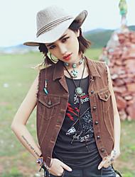 Aporia.As Women's Shirt Collar Sleeveless Vest & Waistcoat Red / Brown-MZ10072