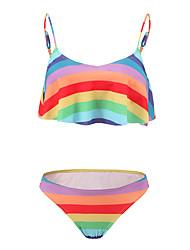 Women's Bandeau BikiniFloral / Ruffle Nylon Multi-color