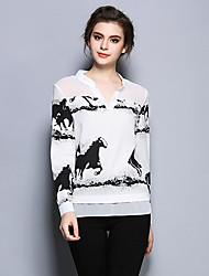 Damen Druck Einfach Ausgehen T-shirt,V-Ausschnitt Herbst Langarm Weiß Polyester Dünn