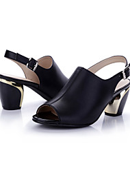 Women's Heels Summer Ankle Strap Leather Party & Evening / Casual Chunky Heel Others Black