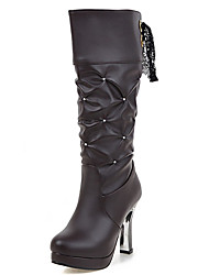Women's Shoes Chunky Heel Round Toe Platform Lace Up Rhinestones Mid Calf Boot More Color Available