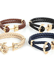 Beadia 1Pc Braided PU Leather Bracelet Anchor & Hook Bracelet