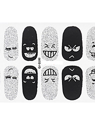 Fashion Expression Style Glitter Silver and Black Nail Decal Art Sticker Gel Polish Manicure