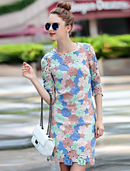 Boutique S Women's Going out Cute Sheath DressEmbroidered Round Neck Above Knee  Length Sleeve Blue
