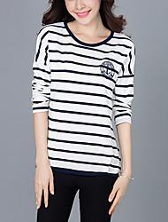 Damen Gestreift Street Schick Lässig/Alltäglich / Übergröße T-shirt,Rundhalsausschnitt Herbst Langarm Blau / Weiß Baumwolle Mittel