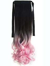 22'' (55CM) Women Long Wave Curly Synthetic Hair Ponytail Ombre Ribbon Pony Tail Hair Extensions Hair 1BTLight Pink
