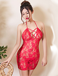Feminino Super Sensual / Uniforme e Cheongsams Roupa de Noite,Sexy Cor Única,Médio Renda / Poliéster Vermelho Mulheres