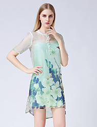 JOJ  Women's Going out Sheath DressFloral Round Neck Above Knee Short