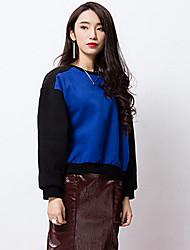 room404 mulheres que saem do bloco hoodiescolor regular de azul em torno do pescoço de manga comprida simples