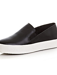 Damen-Loafers & Slip-Ons-Lässig-Leder-Plateau-Plateau-Schwarz Weiß