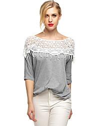 Damen Patchwork Sexy / Einfach Ausgehen / Party/Cocktail T-shirt,Rundhalsausschnitt Alle Saisons Kurzarm Grau Polyester Dünn
