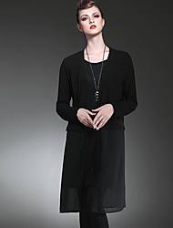 LUTING® Женский V-образный вырез Длинные Свитер и джемпер черный увядает / серый-6025