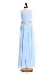 Lanting Bride® Floor-length Chiffon Junior Bridesmaid Dress Sheath / Column Spaghetti Straps with Crystal Detailing / Sash / Ribbon / Criss Cross