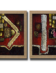 2 Panels Oil Painting Modern Abstract Painting Pictures Hand Painted On Natura Linen With Stretched Frame