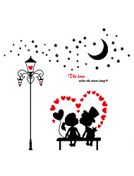 Wall Stickers Wall Decals Style Lovers Under The Street Lamp PVC Wall Stickers