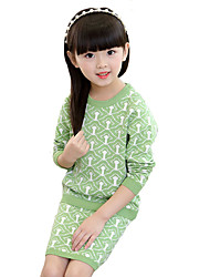 Girl's Casual/Daily Print DressCotton Spring / Fall Green / Red