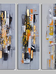 IARTS Light Yellow Color 3 Panels Abstract Painting Modern Wall Art Stretchered Ready to Hang For Living Room/Washroom