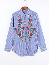 Women's Casual/Daily Chinoiserie Fall ShirtEmbroidered Shirt Collar Long Sleeve Blue Cotton Medium