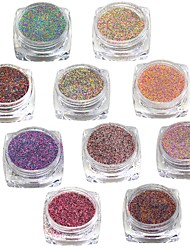 1set Mixed Color Nail Sugar Powder Nail Art Dust Tips Nail Decorations Dazzling Manicure Craft #523-532