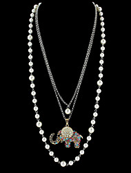 Long Imitation Pearl Chain Rhinestone Elephant Pendant Necklaces