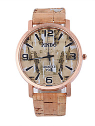 Fake Wooden Men Wristwatch For Students Brand Quartz Women Watch Of  Pu Leather Band 4 Numbers Dial Watch