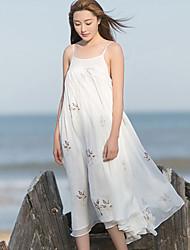 Ample Robe Femme Plage simple,Broderie A Bretelles Mi-long Sans Manches Blanc Lin Eté Taille Normale Non Elastique Moyen