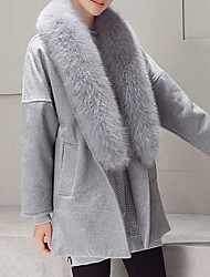 Women's Going out Street chic CoatSolid Cowl Long Sleeve Winter Gray Polyester / Fox Fur Thick