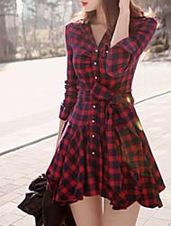 Women's Plaid Red Dress(cotton)